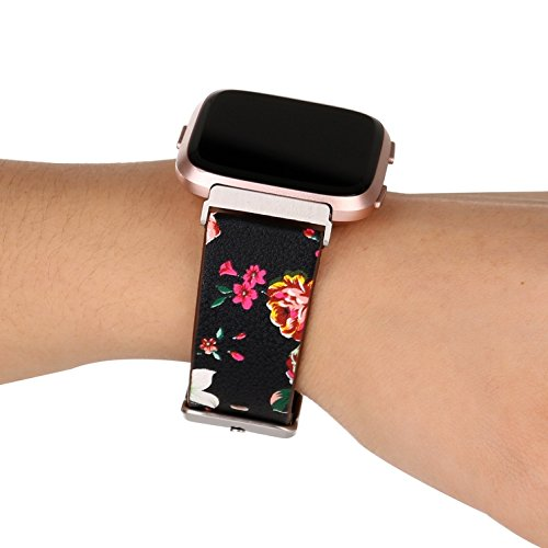 Juzzhou Smart Watch Band For Fitbit Versa Watchband Wriststrap Leather Motley Flower Bracelet Replacement Wrist Strap Wristband With Metal Adapter Adjustable Buckle Clasp For Woman Lady Girl Black by Juzzhou (Image #5)