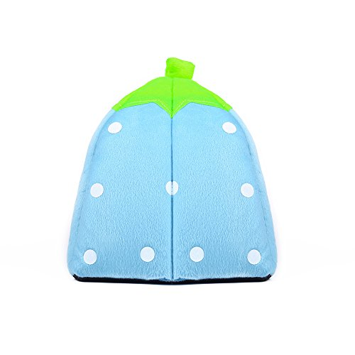 Spring Fever Strawberry Guinea Pigs Fleece House Rabbit Cat Pet Small Animal Bed Blue L (16.916.90.8 inch) by Spring Fever (Image #5)