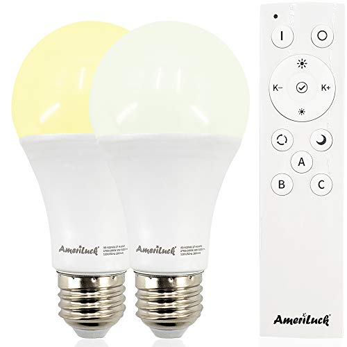 AmeriLuck Remote Control LED Light Bulb Kit, Adjustable Color Temp, 1-to-Many Groupable, Dimmable with Night Light Mode (2Bulbs+1Remote)