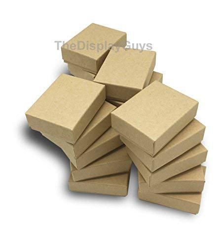 The Display Guys Pack of 25 Cotton Filled Cardboard Paper Kraft Jewelry Box Gift Case - Kraft (2 1/8x1 5/8x3/4 inches #11)