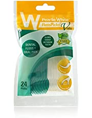 Pearlie White Floss Pick Value 2-In-1 Waxed Mint Flossers, 24 ct