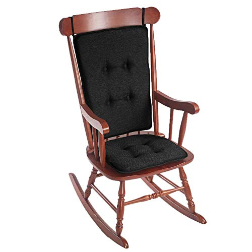 Klear Vu Embrace Rocking Chair Pad Set, 16L x 17.5W x 2H, and Back Measures 25L x 20W, Black