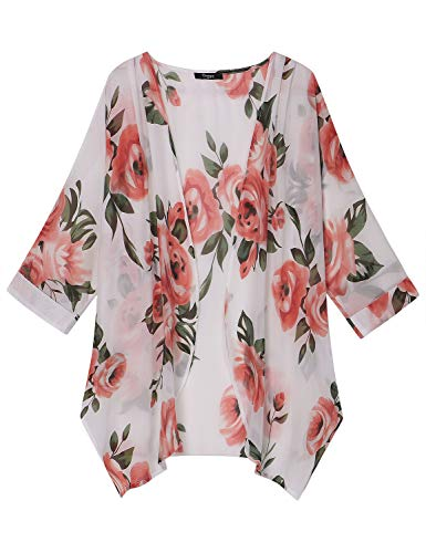 Ckuvysq Women's Summer Tops Loose Chiffon Cardigan Half Sleeve Beach Swim Cover up (Big red Flower-White, Large)