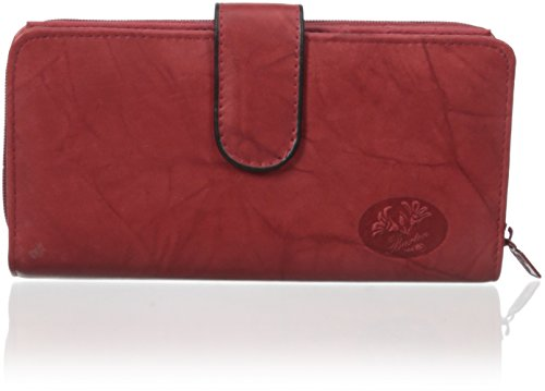 Buxton Women's Heiress Checkbook Wallet, Red, One - Ladies Wallets Buxton
