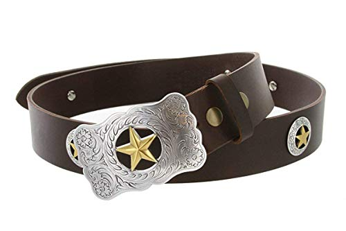 Mens Texas Ranger Star Western Cowboy Belt with Matching Conchos and Oil Tanned Leather Strap (Brown, 36) (Ranger Belt Buckle)