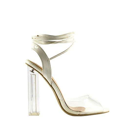 Femmes Blanc Taille La Chaussure Sangle Dentelle Talons Partie Filles La Longue Plexiglas Hauts Clair Jusqu'À De La rRxrB4an