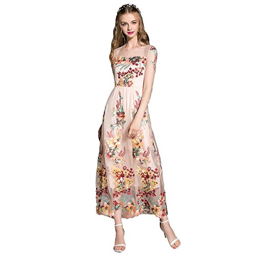 Dezzal Women s Floral Embroidered 3 4 Sheer Sleeve Gauzy Maxi Evening Gown  Dress 30% d9f9bad0022c