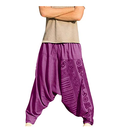 (QueenMMMen's Super Soft Modal Spandex Harem Yoga Pilates Pants with Drawstring)