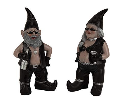 Zeckos Gnoschitt and Gnofun Thirsty Biker Gnomes Statue Motorcycle Leather 8 inch ()