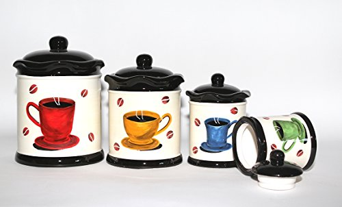 Tuscany Colorful Coffee Bean, Hand Painted Canister Set of 4, 83301 by ACK (Tuscany Kitchen Canisters)