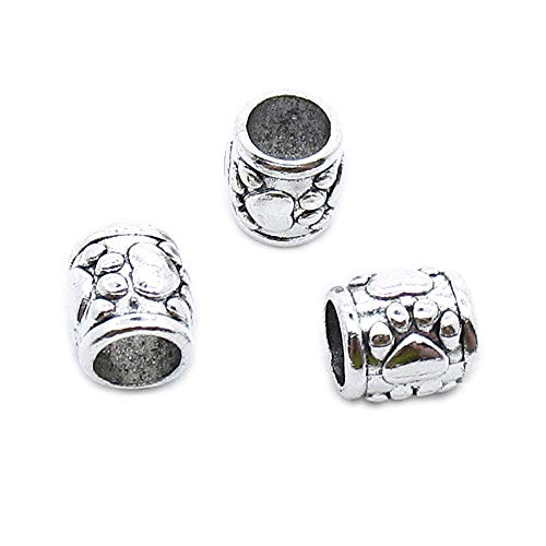 (50 Pieces Antique Silver Plated Jewelry Charms Findings Fashion Craft Making Crafting QZ3D8V Bear Paw Prints Loose Beads)
