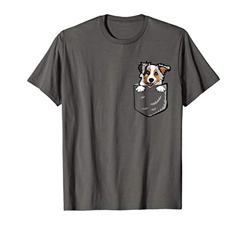 Adorable Little Australian Shepherd In The Pocket T-shirt ()