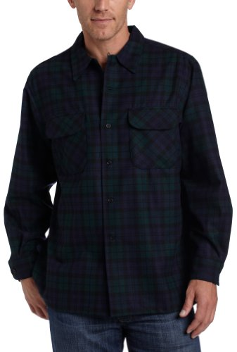(Pendleton Men's Long Sleeve Classic-Fit Board Shirt, Black Watch Tartan-30069, LG)