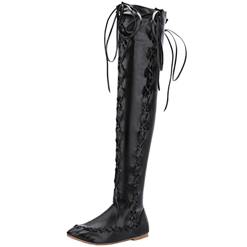 RAZAMAZA Women Stylish Thigh High Boots Zipper Black mQKif7w