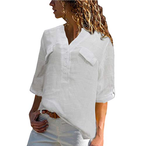 Lined V-neck Jersey - Plus Size Clothing for Womens Summer Casual V Neck Striped Cuffed Sleeve Button Down Collar Blouses Shirts Tops(White,XXXL)
