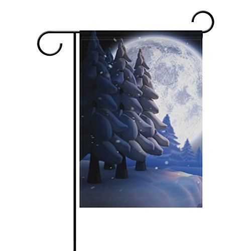 Naanle Winter Snow Tree Double Sided Polyester Garden Flag 2