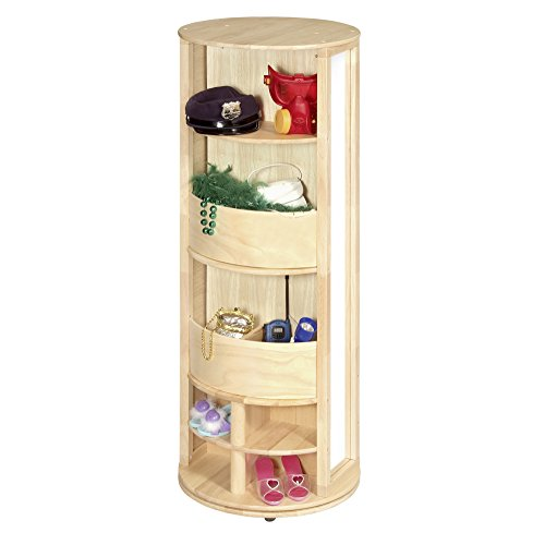 (Guidecraft Dress Up Carousel – Natural: Toddler's Dramatic Play Armoire, Dresser and Storage, Kids' Room FurnitureRound Play Locker with Hooks)