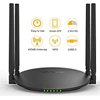 WAVLINK AC1200 Smart Wi-Fi Wireless Router with USB 2.0 Ports and External Antennas Smart Wi-Fi App Enabled to Control Your Network from Anywhere