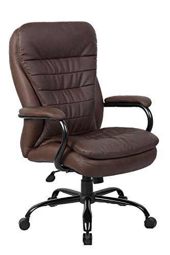 Boss Office Products B991-BB Heavy Duty Double Plush LeatherPlus Chair with 350lbs Weight Capacity in Bomber Brown Brown Bomber Leather Executive Chair