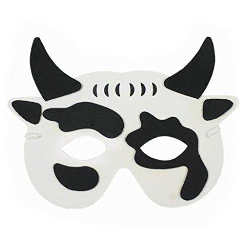 PANDA SUPERSTORE 10 PCS Children's Performance Props Children Animal Masks,Dairy Cow