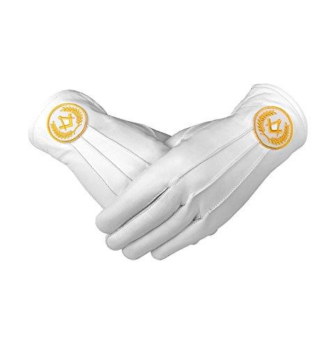 Yellow Square Gloves Soft Regalia Masonic Leather White Compass 780gq