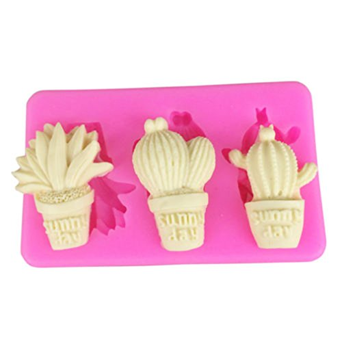 (YESMAEA Cactus Shape Silicone Mold DIY Sugar Craft Cake Mould Decor Home Kitchen Tools DIY Food Grade Silicone Mold)