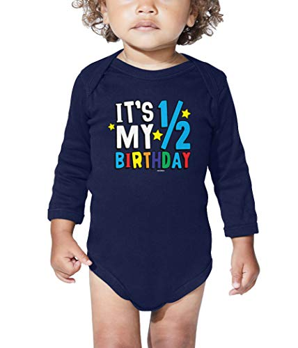 Haase Unlimited Its My 1/2 Birthday - Half 6 Months Old Long Sleeve Bodysuit (Navy Blue, 6 Months)