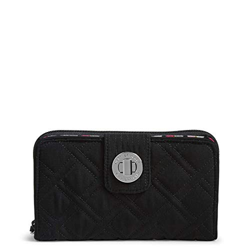 Vera Bradley Women's RFID Turnlock Wallet, Classic Black, One Size ()