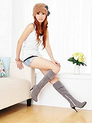 Happy/& Shopping European Style Knight Boots fine with Side Zipper high-Heeled Boots Knee Boots