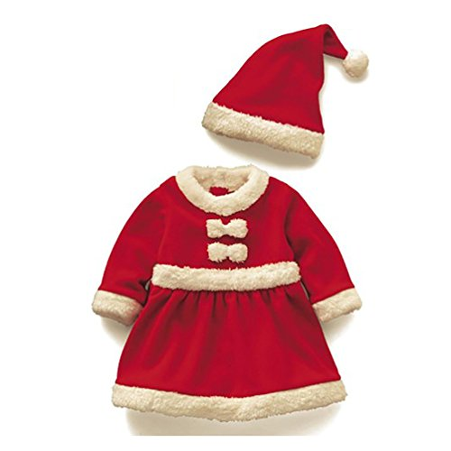 D.LIN Girls Classic Christmas Santa Claus Dresses + Cloak + Hat Suits(Toddler/Little (Santa Clause Dress)