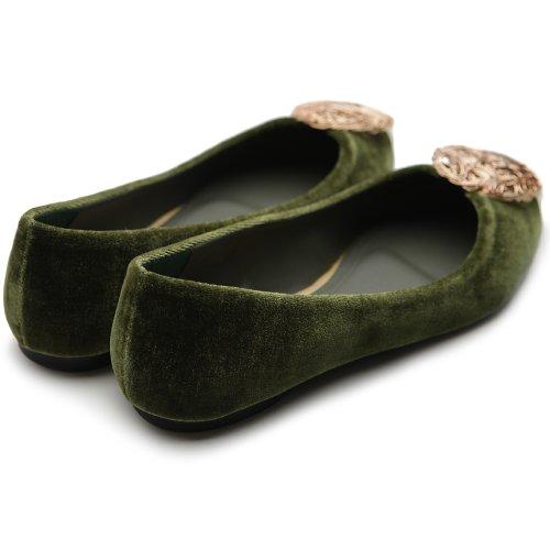 Ollio Donna Scarpa Da Balletto Comfort Lussuoso Accento Multi Color Verde Kaki Piatta