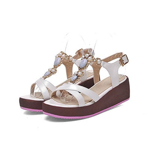 Open Buckle Solid Heels White Women's Kitten Toe Material Soft Sandals AllhqFashion fYS0Wqn