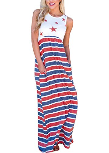 For G and PL July 4th Women Swing High Waisted Patriotic Loose Sleeveless Pocket Tank Maxi Dress Star & Stripe L