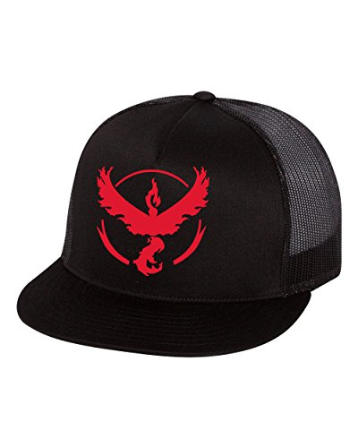 Pokemon Go Gym Team Hats Team Valor Flat Bill Trucker Hat Red (Best Pokemon Go Gym Team)