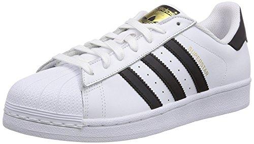 Adidas Originals SUPERSTAR C77124 unisex blanco zapatos de cuero negro 44