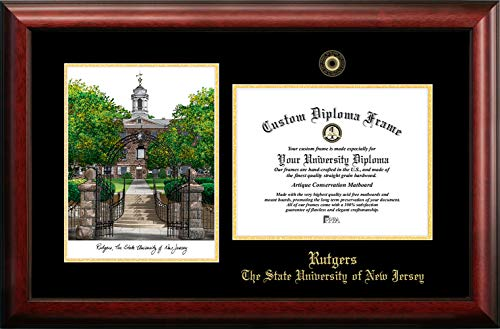 (Campus Images NJ999LGED Rutgers, State University of New Jersey, Embossed Diploma Frame with Lithograph Print, 8.5