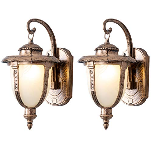 Outdoor Exterior Wall Light Fixtures, Rustic Gloden Bronze Wall Lighting with Frosted Glass Shade, Retro Waterproof Wall Sconces for Porch Garage Patio Bedroom Living Room Pack-2