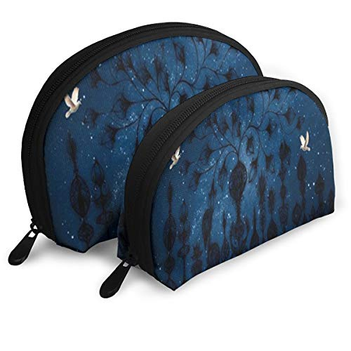 Makeup Bag Starry Night In The Forest Night Birds Portable Shell Makeup Case For Girls Halloween Gift 2 Piece