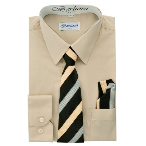 Elegant Boys Button Down Khaki (712) Dress Shirt/Necktie/Hanky (12) by King Formal Wear