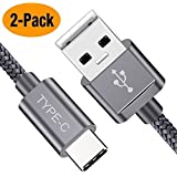 Snowkids USB Type C Cable, USB C Cable 6.6Ft(2 Pack) Nylon Braided Cord USB Type A to C Fast Charger for Samsung Galaxy S10 S9 S8 Plus Note 9 8,Moto Z,LG V30 V20 G5,Nintendo Switch,OnePlus 5 3T(Grey)