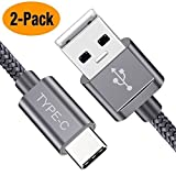 USB Type C Cable, Snowkids USB C Cable 6.6Ft(2 Pack) Nylon Braided Cord USB Type A to C Fast Charger for Samsung Galaxy S10 S9 S8 Plus Note 9 8,Moto Z,LG V30 V20 G5,Nintendo Switch,OnePlus 5 3T(Grey)