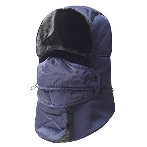 - Trooper Trapper Hat,Winter Ski Hat with Winter Ear Flap and Ski Windproof Mask (Blue)