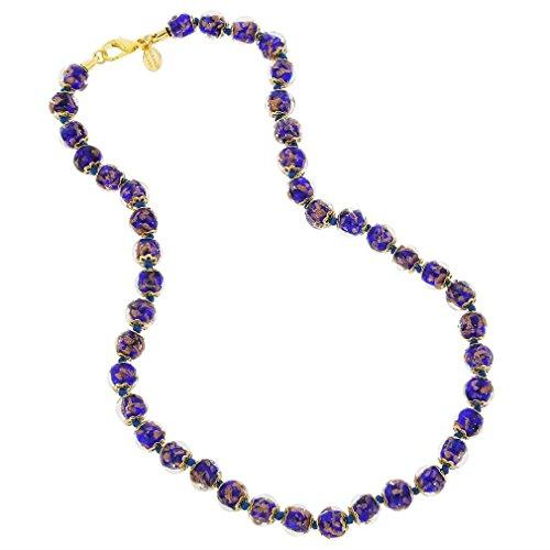 GlassOfVenice Murano Glass Sommerso Necklace - Navy Blue