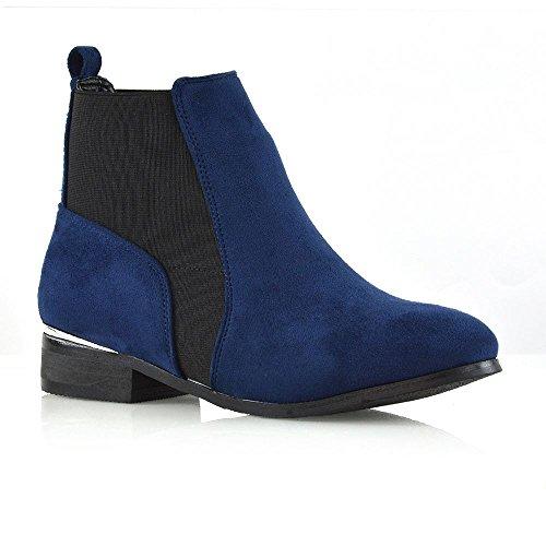 Glam Stivaletto Finto Essex Chelsea Pixie Donna Azzurro Caviglia Elasticizzato Alla Scamosciato Tassello Casual Sd5Fqw