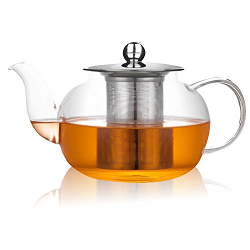 Xenics Glass Teapot with Stainless Steel Infuser and Lid,28oz/800ml Borosilicate Ultralight High Heat Resistance Teapots for Flower Tea and Loose Leaf Tea Pot (800ml)