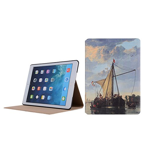 inShang 9.7 inch iPad (2017) Fundas soporte y carcasa para Apple 9.7 inch iPad (2017) , smart cover PU Funda ,art style sailboat