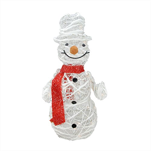 ed White Glittered Rattan Snowman Christmas Outdoor Decoration ()