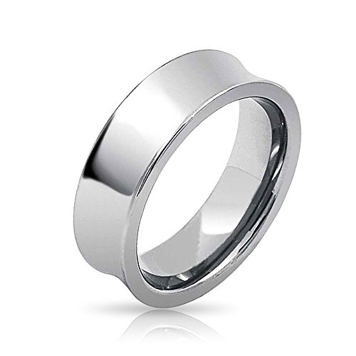 Bling Jewelry High Polish Tungsten Concave Wedding Band Ring 7mm (Band Carbide Tungsten Ring Concave)