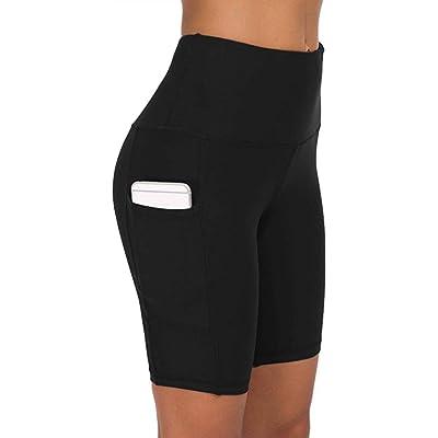 COTOP Pantalones Cortos de Yoga para Correr, Pantalones Cortos Deportivos de Cintura Alta con Bolsillos Laterales para Mujeres