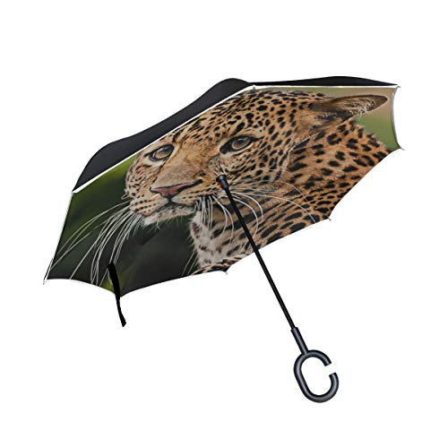 (Double Layer Inverted Leopard Fierce Speed Natural Animal Beast Wild Dangerous Lynx Roar Umbrellas Reverse Folding Umbrella Uv Protection Straight Umbrella For Car Rain Outdoor With C-shaped Handle)